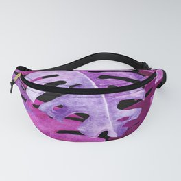 Monstera Plant Leaves   Watercolor Collage Tropical Pink Purple   Renee Davis Fanny Pack