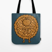 pi Tote Bags featuring Apple Pi by Perdita