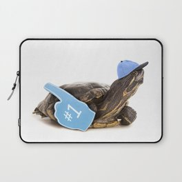 Turtle in Ball Cap and Foam Finger Laptop Sleeve