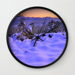 """""""Fresh snow at sunset"""". Into the woods Wall Clock"""