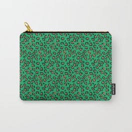 Greenery Green and Beige Leopard Spotted Animal Print Pattern Carry-All Pouch