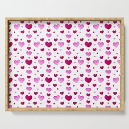 Valentine Day watercolor pink hearts Serving Tray
