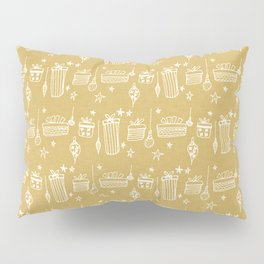 Christmas gift and ornaments Beige and White Pillow Sham