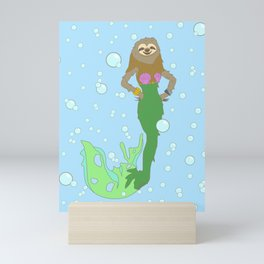 Sloth Mermaid Mini Art Print