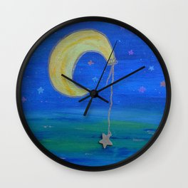 The Moon And Its Star Wall Clock