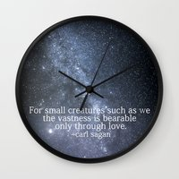carl sagan Wall Clocks featuring Carl Sagan and the Milky Way by Astrophotos by McLeod