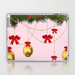 RED RIBBONS GOLD ORNAMENTS HOLIDAY PINK DESIGN ART Laptop & iPad Skin
