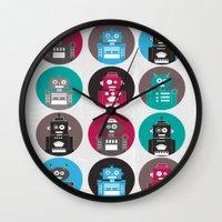 robots Wall Clocks featuring Robots by Kakel