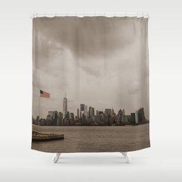Manhattan skyline and American flag Shower Curtain