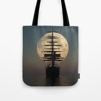ship Tote Bags featuring Ship by samedia