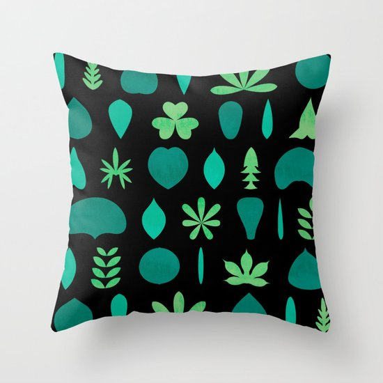 Throw Pillow Arrangement : Leaf Shapes and Arrangements Pattern Dark Throw Pillow by Kathrinmay Society6