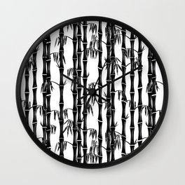 Bamboo Forest Pattern - White Black Grey Wall Clock