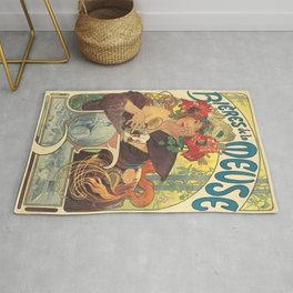Alfons Mucha Art Nouveau Beer Ad Rug