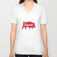 bacon V-neck T-shirts featuring Bacon by Caleb Minear