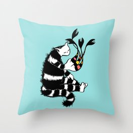 Weird Cat Character With Strange Paw Throw Pillow
