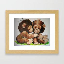 Monkey Kiss Framed Art Print