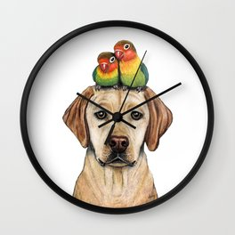 """""""Labradorable Lovebirds"""" - Topped Dogs collection Wall Clock"""