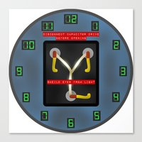 wall clock Canvas Prints featuring Flux Capacitor Wall Clock by Art of Sara