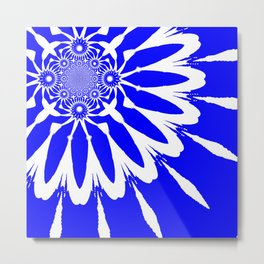 The Modern Flower Royal Blue Metal Print