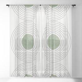 Fresh Pattern, Green Circle Sheer Curtain