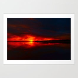 Red sunset to change the weather Art Print