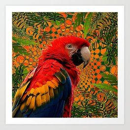 RED JUNGLE MACAW PATTERN ABSTRACT Art Print