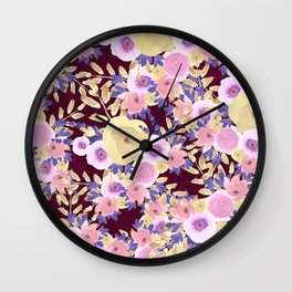 Watercolor pink lavender yellow burgundy floral Wall Clock