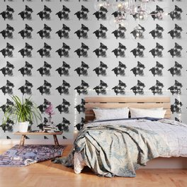 Black and White Happy Dog Wallpaper