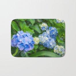 Blue and Yellow Hortensia Flowers Bath Mat