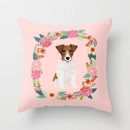 jack russell terrier floral wreath dog breed pet portrait pure breed dog lovers Throw Pillow