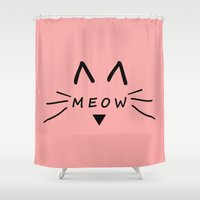 meow Shower Curtains featuring Meow by Cat Attack