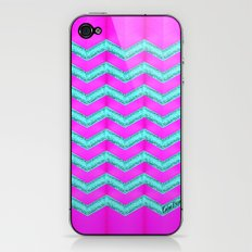 Pink & Cyan Glitter Chevron. #2 iPhone & iPod Skin