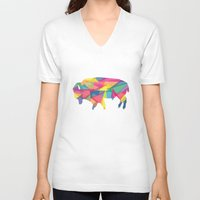 buffalo V-neck T-shirts featuring Buffalo by Jake Martin