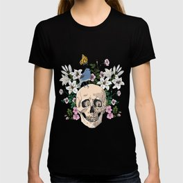 Skull drawing with flowers,bird and butterfly T-shirt