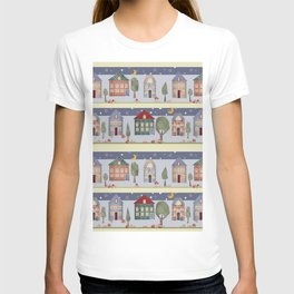 Kids patchwork seamless pattern with houses and trees T-shirt