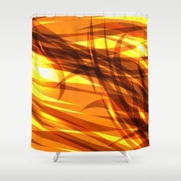 Saturated gold and smooth sparkling lines of metal ribbons on the theme of space and abstraction. Shower Curtain