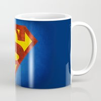 superman Mugs featuring Superman by S.Levis