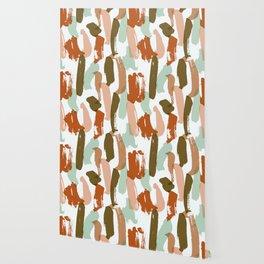 Retro Color Block Stripes Popsicle Sticks Rusty Orange Wallpaper