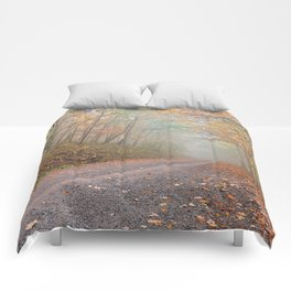 Misty Autumn Forest Road Comforters
