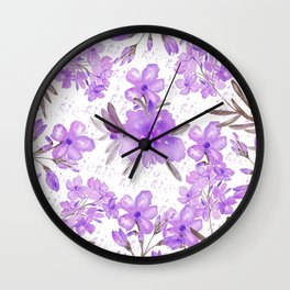 Watercolor lavender lilac brown modern floral Wall Clock