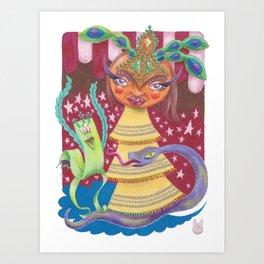 Goddess with Stars, Snake, and Bird Art Print
