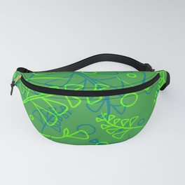 Botanical aquamarine pattern of green and cobalt plants and grass blades in ethnic style. Fanny Pack