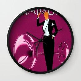 Vintage Champagne Pink Veuve A. Devaux, Paris, France Jazz Age Roaring Twenties Advertisement Poster Wall Clock