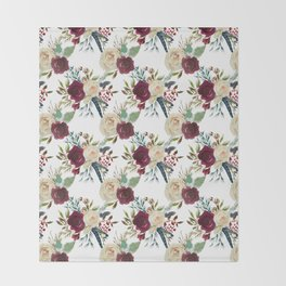 Burgundy ivory green watercolor boho floral pattern Throw Blanket