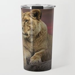 African Female Lion in the Grass at Sunset Travel Mug