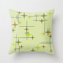 Mid Century Modern Stars Chartreuse Throw Pillow