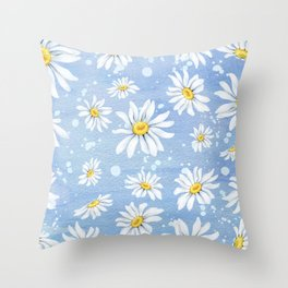 Spring Daisies On Sky Blue Watercolour Throw Pillow
