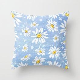 Spring Daisies On Sky Blue Watercolour Throw Pillow