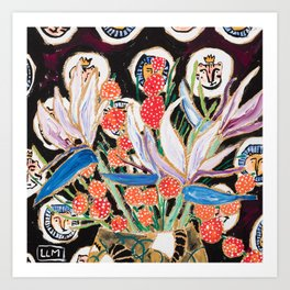 Lions and Tigers Dark Floral Still Life Painting Art Print