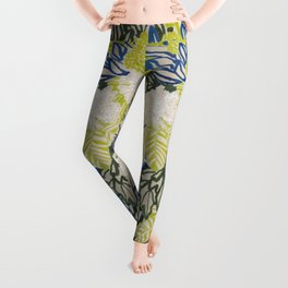 White chrysanthemums -ink floral Leggings